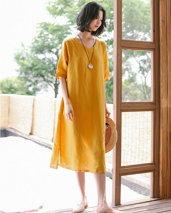 Loose Women Linen Yellow Dresses Summer Casual Outfits Q9410