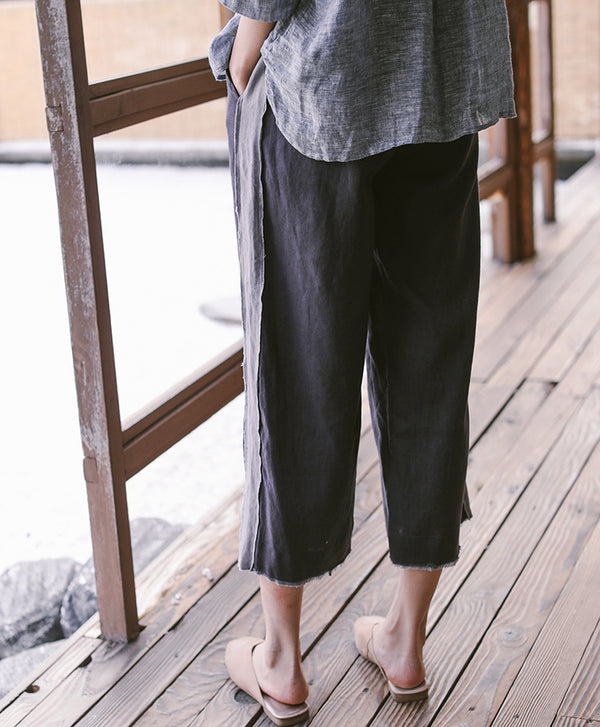 Women Dark Blue Loose Linen Wide-leg Pants Summer Casual Thin Trousers K9327