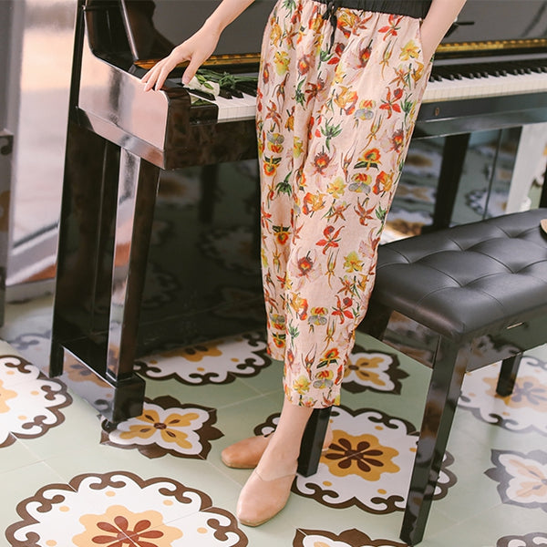 Casual Summer Linen Floral Pants Women Loose Thin Trousers K9421