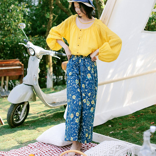 Summer Blue Print Loose Wide-leg Pants Women Linen Trousers K9416