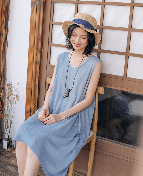 Loose Knitted Sleeveless Dresses Women Summer Sundress Q9429