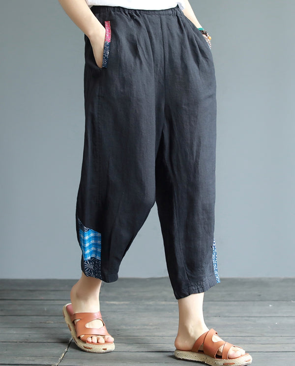 Women Summer Loose Cotton Linen Casual Pants Simple Harem Trousers K20051