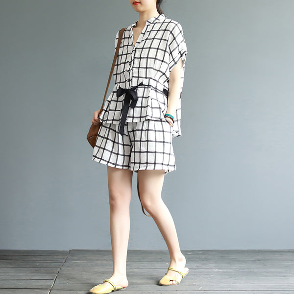 Loose Beige Plaid Cotton Linen Two Piece Casual Tops With Shorts S20051