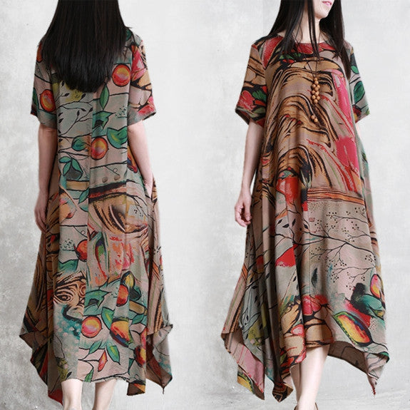 Summer Loose Plus Sweep Maxi Dresses Women Casual Clothes Q22058