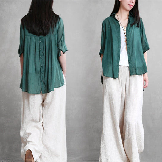 Summer Loose Cotton Linen Shirt Women Casual Short Blouse S20059