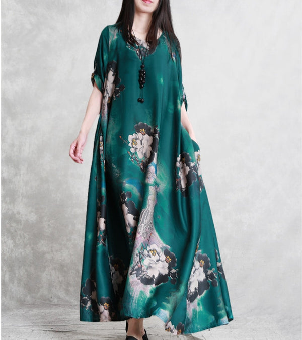 Women Loose Plus Sweep Maxi Dresses Summer Casual Silk Gown Q23055