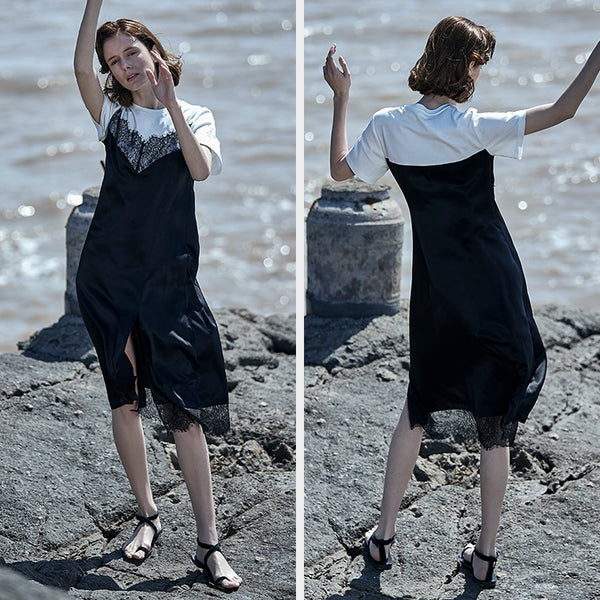 Loose Black Quilted Lace Summer Dresses Women Cool Outfits S1940