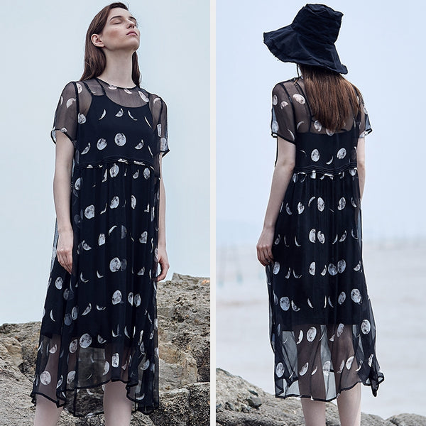 Elegant Summer Black Silk Dresses Women Loose Clothes S1911