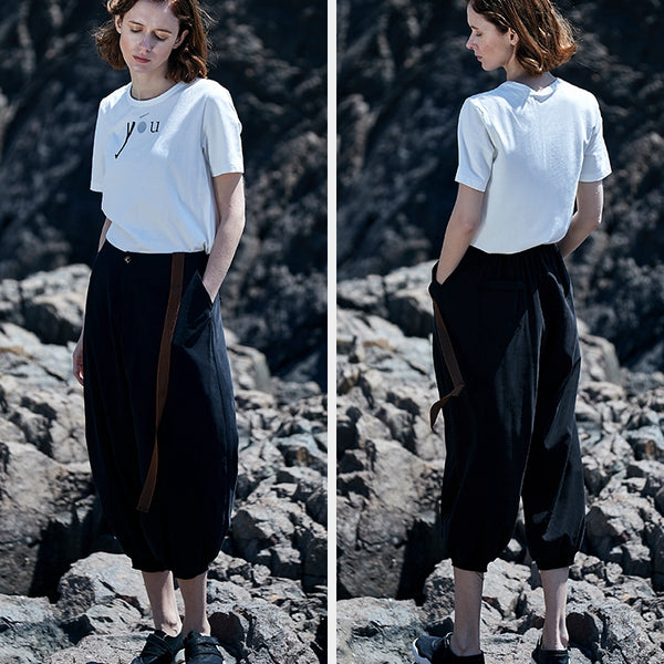 Loose Women Summer Black Casual Pants Simple Fashion Plus Fours S1946