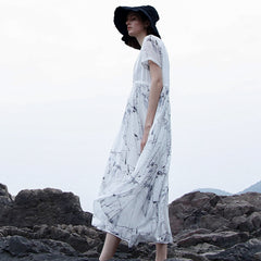 Women Summer Loose White Dresses Casual Cool Silk Clothes S1937
