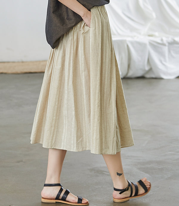 Simple Beige And Coffee Cotton Skirt Women Summer Clothes Q27052