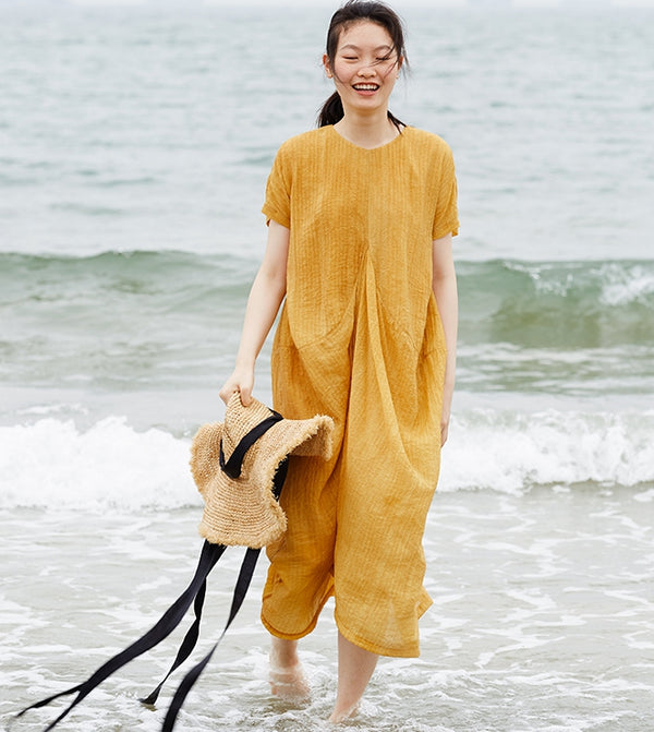 Summer Loose Yellow Dresses Women Casual Long Clothes Q27053