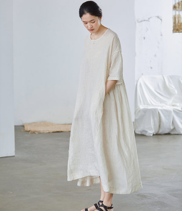 Beige Loose Linen Maxi Dresses Women Summer Casual Outfits Q27054