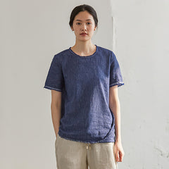 Summer Blue Cotton Linen Loose Shirt Women Casual Blouse S27051