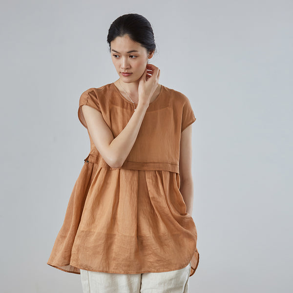 Casual Summer Linen Silk Short Blouse Women Loose Cool Tops S27052