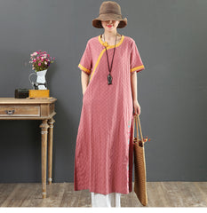Loose Pink And Yellow Cotton Dresses Women Summer Casual Clothes 7021