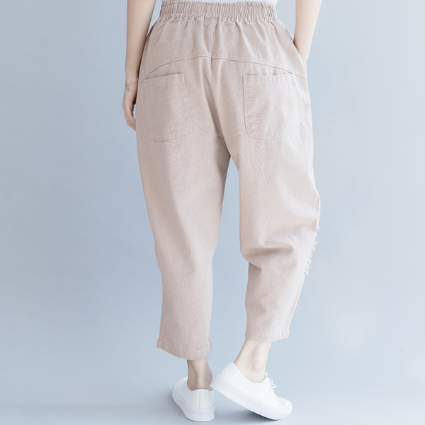 Women Loose Pink Cotton Harem Pants Casual Trousers K27051