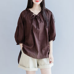 Cute Women Casual Blouse Summer Cotton Loose Tops S27058