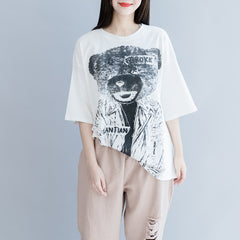 White Bear Print Loose Cotton Shirt Summer Casual Tops S28051