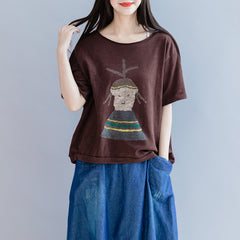Casual Coffee Short Shirt Women Loose Cotton Blouse For Summer S28053
