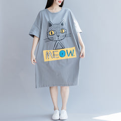 Gray Casual Cotton Shirt Dresses Women Loose Summer Clothes Q28050