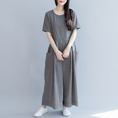 Women Black Plaid Cotton Casual Overalls Summer Loose Jumpsuit K27053