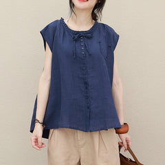 Summer Pure Color Linen Short Blouse Women Casual Cool Shirt Q2730