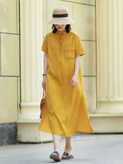 Vintage Loose Linen Yellow Dresses Women Cool Clothes For Summer Q28051