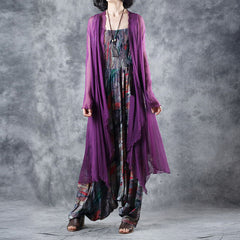 Summer Loose Purple Silk Long Coat Women Thin Outfits C27051
