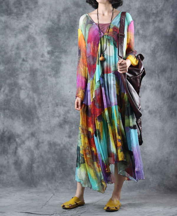 Summer Elegant Loose Silk Dresses Women Thin Clothes Q28052