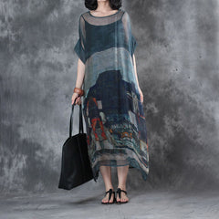 Women Vintage Loose Silk Loose Dresses Summer Blue Outfits Q28058