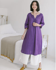 Cute Linen Purple Summer Dresses Women Loose Clothes