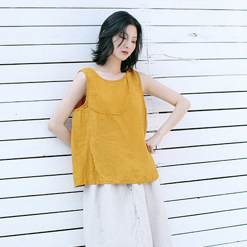 Summer Casual Yellow And Beige Vest Women Loose Cool Tank Top T9413