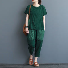 Women Loose Two Piece Short Shirt With Harem Pants S3061