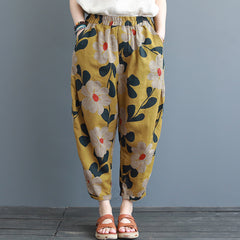Summer Loose Yellow Cotton Linen Pants Women Casual Cotton Linen Trousers K3062