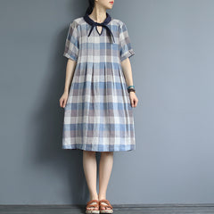 Vintage Blue Plaid Linen Summer Dresses Women Casual Clothes Q3061