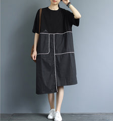 Loose Quilted Cotton Summer Dresses For Women Q3062