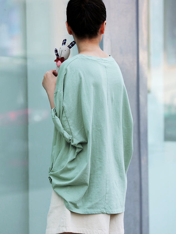 Cute Loose Cotton Green Shirt Women Summer Casual Blouse T2951