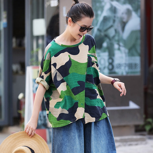 Loose Green Short Cotton Blouse Women Summer Cool Shirt T1612