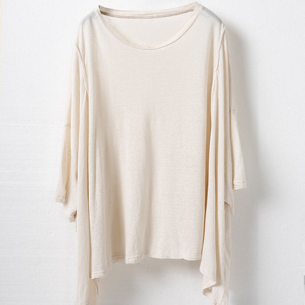 Black And Beige Loose Women Blouse Summer Cool Shirt T6162