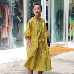 Yellow Summer Cute Cotton Dresses Women Casual Outfits Q1132