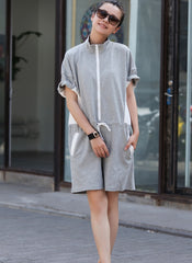 Women Korea Style Drawing Sport Overall Summer Loose Jumpsuit K2066