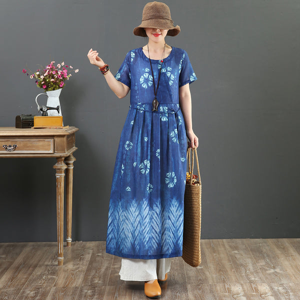 Summer Blue And Red Loose Linen Maxi Dresses For Women 7078