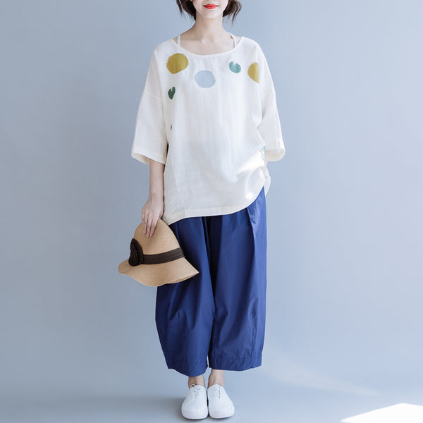 Summer Casual Cotton Shirt Women Cool Loose Blouse S10064