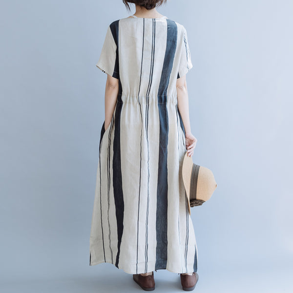 Women Loose Beige Striped Maxi Dresses Linen Clothes