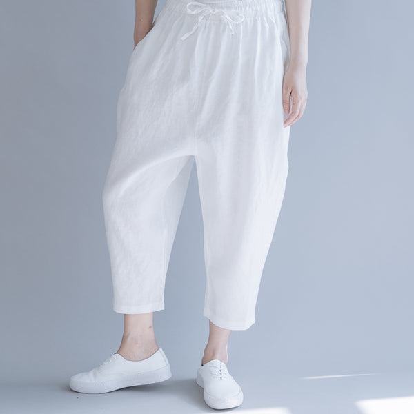 Casual White And Black Cotton Linen Pants For Women K10061