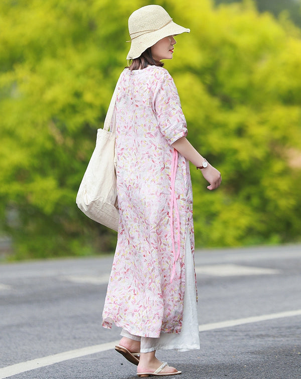Summer Loose Pink Floral Dresses Women Casual Long Clothes Q10066