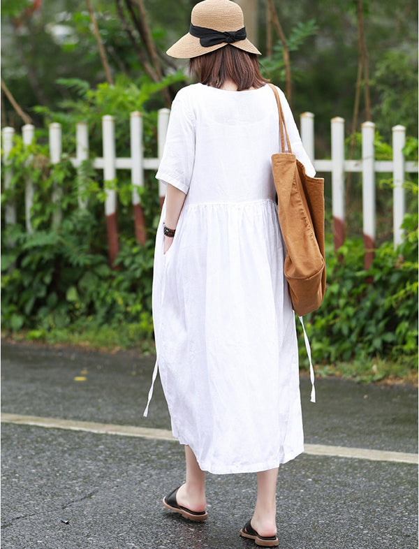 Cute Summer Linen White Dresses Women Loose Cool Outfits Q10068
