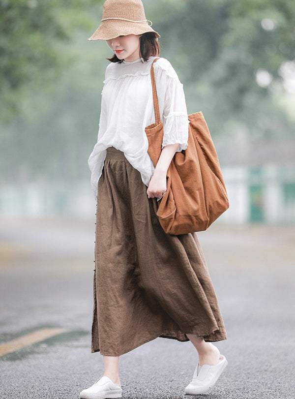 Women Coffee Linen Summer Skirt Casual Cool Clothes Q10069