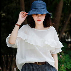 Loose White And Yellow Summer Blouse Women Cotton Tops S11063